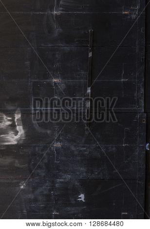A dirty metallic black door texture background.