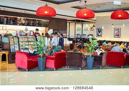 HONG KONG, CHINA - JUNE 18, 2015: Pacific Coffee cafe interior. Pacific Coffee Company is a Pacific Northwest U.S.- style coffee shop group originating from Hong Kong.