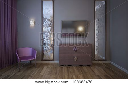 Wall with TV large vertical patterned mirrors pink curtain and armchair in bedroom. 3D render