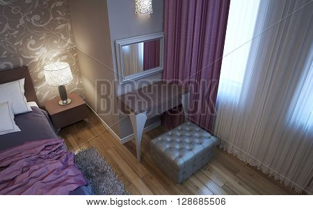 Dressing table in art deco style bedroom. Upholstered grey ottoman. Matt plaster walls with decorations. 3D render