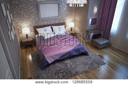 Master bedroom in fusion style. Using of patterned decorations in interior. Parquet flooring. 3D render