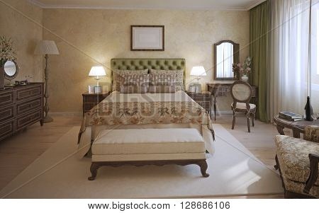 Master bedroom english style. A room with two-place bed olive headboard and dark oak furniture. Bench and white carpet in the middle of the room. 3D render