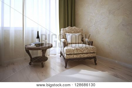 Patterned coffe table of dark oak and soft armchair with cushion near window in classic room. Light parquet wall of decorated venetian plaster.3D render