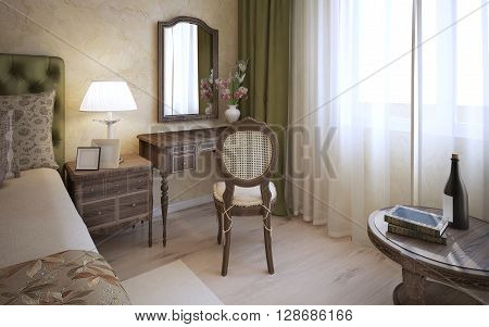 Dressing table in english bedroom. 3D render