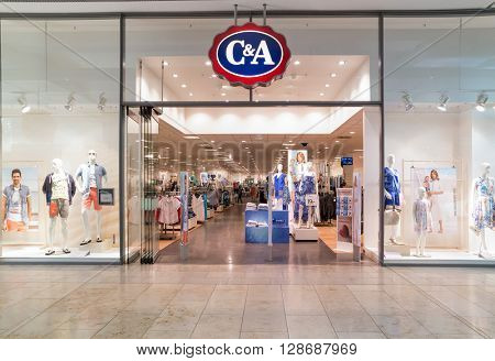 BADEN-BADEN, GERMANY  - MAY 4: interior of C&A fashion clothes store in the in  shopping center of Baden-Baden.  Baden-Baden, May 4, 2016