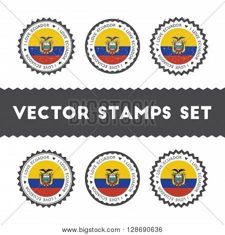 I Love Ecuador Vector Stamps Set. Retro Patriotic Country Flag Badges. National Flags Vintage Round