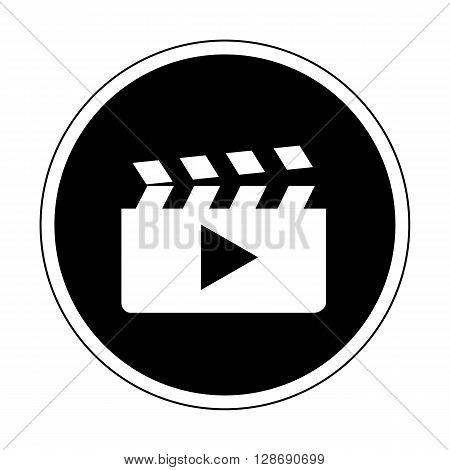 Video or Footage library icon in black and white color isolated on white background flat design