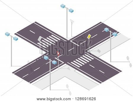 Road sign on street. Street traffic sign. Info graphic, junction crossway on white background. Illustration of crossroads main and side road. Flatten isolated master vector icon.
