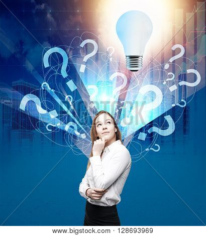 Businesswoman found answer to questions. Idea concept poster