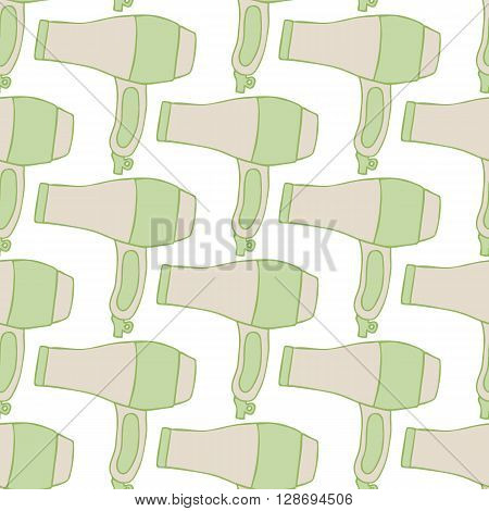 Blow dryer icon. Seamless pattern with hand-drawn hair dressing sketch. Doodle drawing. Vector illustration - swatch inside
