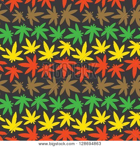 Marijuana ganja weed rasta seamless vector pattern poster