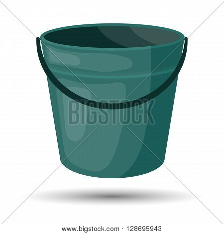 Bucket colorful icon. Empty bucket vector illustration icon