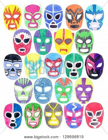 Luchador or fighter mask set. Hand-drawn lucha libre free fight masks - colorful helmets on the white background. Real watercolor drawing.