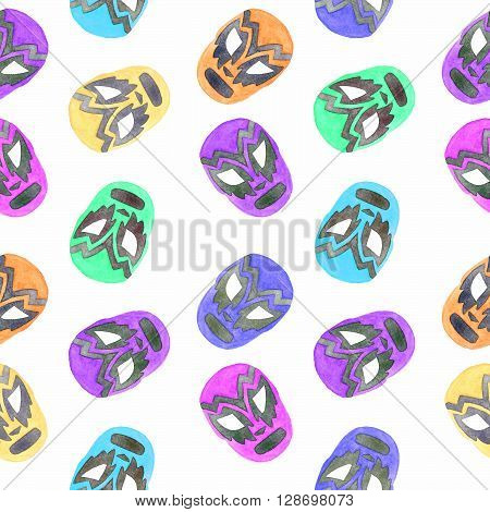 Luchador or fighter mask. Seamless pattern with hand-drawn lucha libre - free fight - masks - colorful helmets on the white background. Real watercolor drawing.