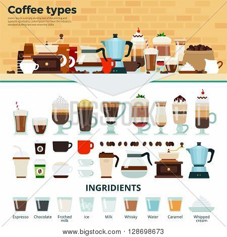 Coffee types vector flat illustrations. Many types of different coffee on the table. Energy, relax and break concept. Cups and glasses with tasty coffee, coffee machines and ingredients isolated on white background