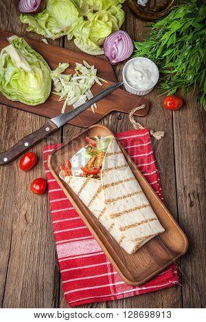 Tasty Fresh Wrap Sandwich.