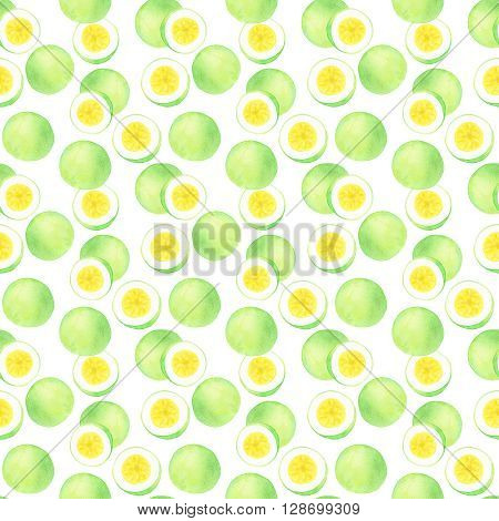 Passion fruit or maracuya. Seamless pattern with hand-drawn fruits  - passionfruit.  Real watercolor drawing.