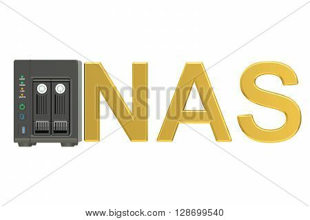 NAS Network-attached storage. 3D rendering isolated on white background