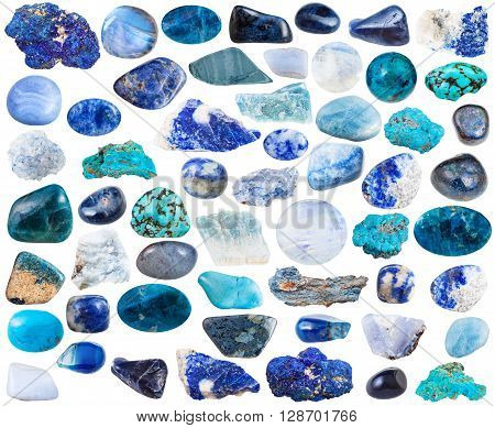 Set Of Blue Mineral Stones And Gemstones