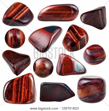 Set Of Various Bulls Eye Mineral Stones And Gems