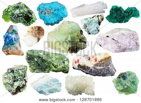Many Natural Mineral Gems And Crystals Isolated