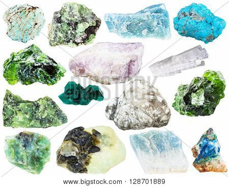 Set Of Different Natural Mineral Gems And Crystals
