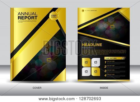 Gold Black Annual report template gold cover design brochure flyer info graphics elements leaflet