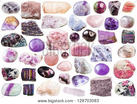 Set Of Pink Mineral Stones And Gemstones