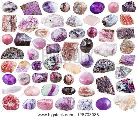 Set Of Purple Mineral Stones And Gemstones