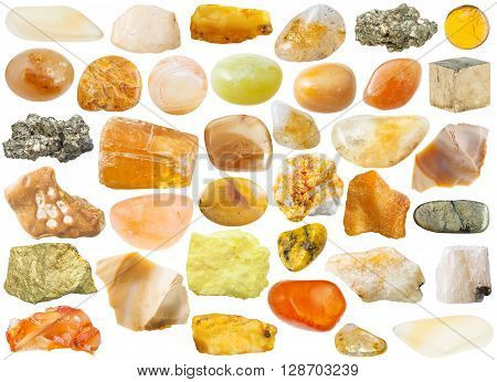 Set Of Yellow And Orange Mineral Stones And Gems
