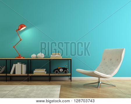 Part of interior with retro red lamp 3D rendering