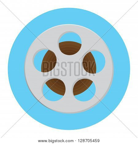Reel of film icon. Film strip and movie reel film roll and film reel vector for cinema. Vector flat design illustration