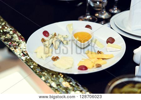 Stylish Luxury Decorated Tables With Cheese Appetizer For Birthday Celebration, Cathering In The Res