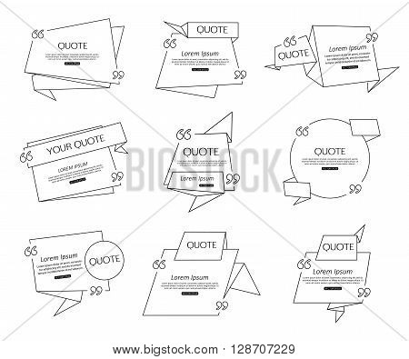Set Origami Quote template for social networking, business, newspaper, magazine and advertising action. Quote Bubble template. Quote Form. Quote Marks. Quote Blank. Short Quote. Chat Quote