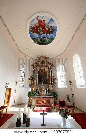 PRIMISWEILER, GERMANY - OCTOBER 20: Church of St. Clement in Primisweiler, Germany on October 20, 2014.