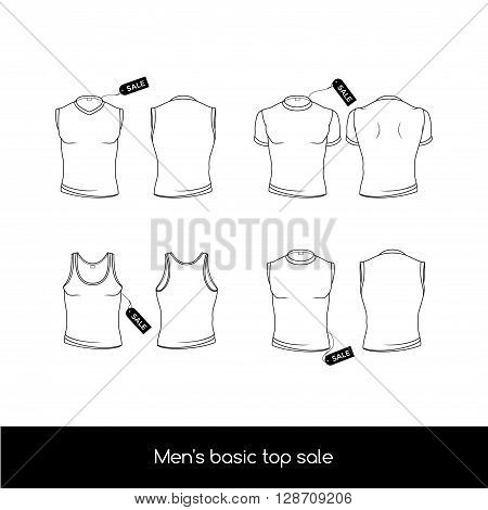 Men's top underwear. Basic types of the top men's underwear with sale tags. Men's sleeveless T-shirt and tank top. Vector illustration in a linear style isolated on white
