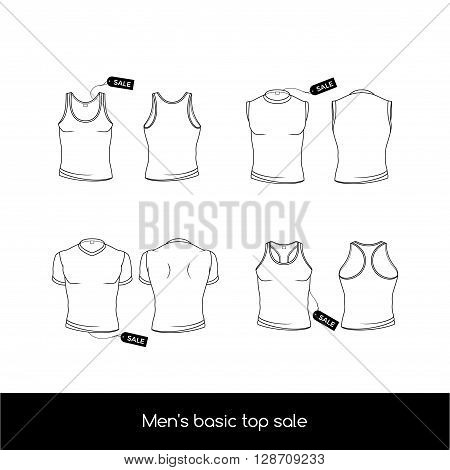 Types of men's top underwear. Basic types of the top men's underwear. Men's sleeveless T-shirt and tank top with sale tags. Vector illustration in a linear style isolated on white