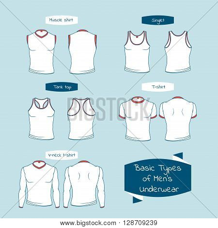Men's top underwear front and back view. Basic types of the top men's underwear. Men's sleeveless T-shirt and tank top. Vector illustration in a outline style isolated on white