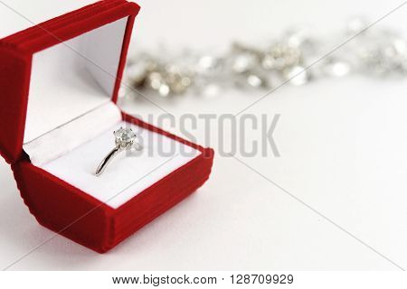 Stylish Luxury Ring With Diamond In Red Box On White Background, Present And Love Concept, Valentine