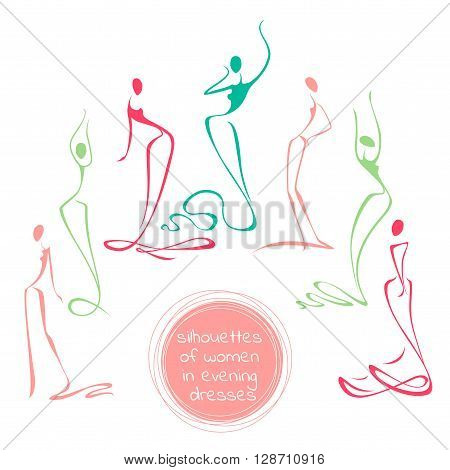 Set Of Fashion Models Silhouettes. Vector Illustration