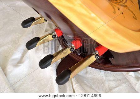 Pedal Harp Closeup Of Foot Pedals