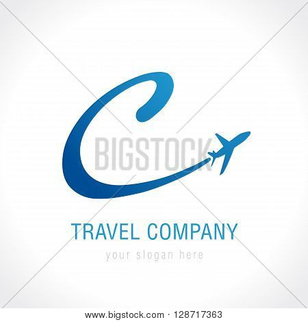 C travel company logo. C letter with airline and plane vector design template