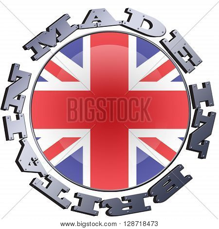 Illustration of a circular Union flag with MADE IN BRITAIN metallic lettering