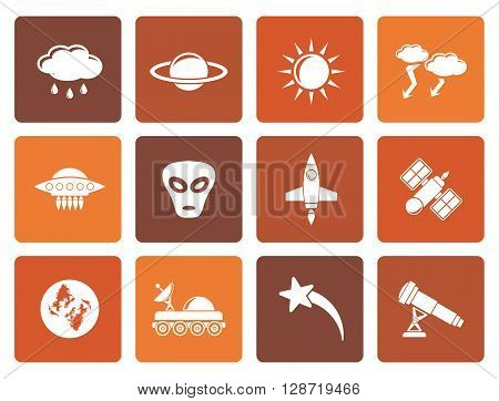 Flat Astronautics and Space and universe Icons - Vector Icon Set