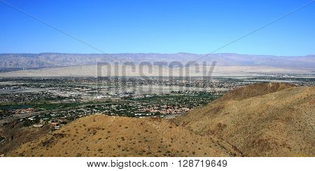 Panoramic view of Palm Springs and the Coachella Valley, California