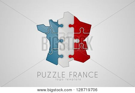 Puzzle France. France logo design. Map of France design logo. Creative France