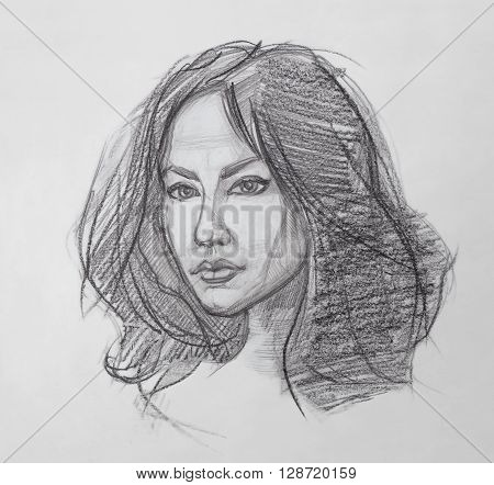 Female Portrait. The Fine Art Portrait of the Young Woman. Female Face. Human Head. Sketch. Hand Drawing. It is a Pencil Drawing.