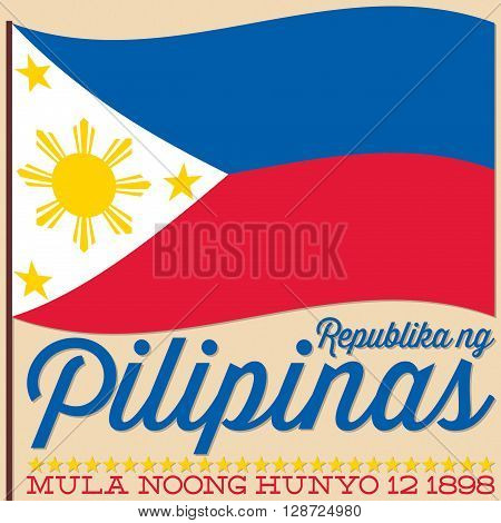 Flag Philippine Independence Day Card In Vector Format.