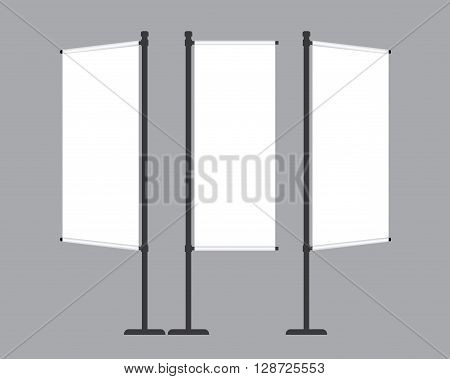 Set of blank flag mockup banners display template isolated on gray background. Vector illustration. Mockup for design