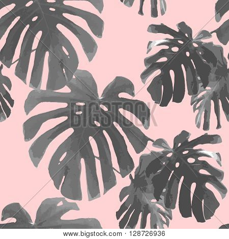Tropical palm leaves seamless pattern. Palm retro texture. Botanical background for phone case, t-shirt, poster, art print, wallpaper